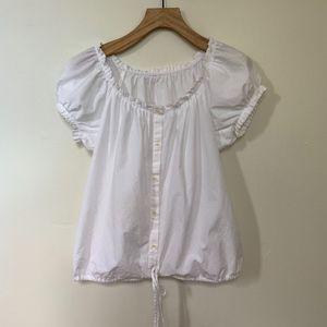 Vintage White Romantic Cotton Blouse Top